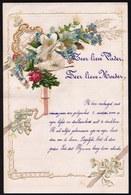 1 JANV.1903 ! LETTRE DE NOUVEL AN - NEW YEAR LETTER - NIEUWJAARSBRIEF - RELIEF DOREE - SUPERBE AJOUTI PIGEON ET FLEUR - Faire-part