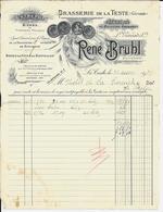 33 - LA TESTE - Brasserie De La Teste  - René Bruhl   1939 - Alimentaire