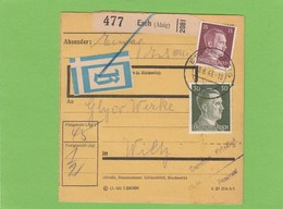 """PAKETKARTE VON """"EIWAG""""(SICHEL),ESCH(ALZIG) AN DIE """"GLYCO"""" WERKE IN WILZ.BEUTELPOST. - 1940-1944 Ocupación Alemana"""