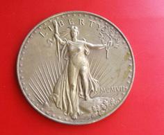 USA, MONETA FERMACARTE IN BRONZO RIPRODUZIONE 20 DOLLARI ORO 1908 - Stati Uniti