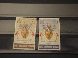 TURKS CAICOS - 1970 COSTITUZIONE/UCCELLI 2 VALORI - NUOVI(++) - Turks E Caicos