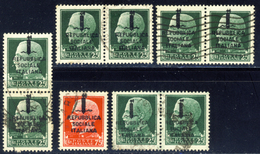 Varieta' - Lotticino Di Varieta' Di Soprastampa Spostata In Alto O Basso (vedi Descrizione) - 4. 1944-45 Repubblica Sociale
