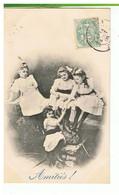 CPA-1906-QUATRE JOLIES FILLETTES EN ROBE BLANCHE QUI GRIMPENT SUR UN MUR- - Groepen Kinderen En Familie