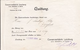 Conservenfabrik Lenzburg, Quittung 1914 - Switzerland