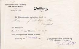 Conservenfabrik Lenzburg, Quittung 1914 - Suisse