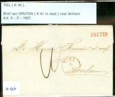 POSTHISTORIE * HANDGESCHREVEN BRIEF Uit 1867 Gelopen Van LANGSTEMPEL DRUTEN Via TIEL Naar ARNHM  (10.936) - 1852-1890 (Wilhelm III.)