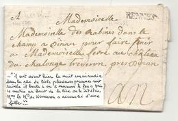 Ille Et Vilaine - Rennes Pour Château De Chalonge à Trévron Près Dinan. Incendie/ KERSAUSON (accouchement) - 1701-1800: Precursors XVIII