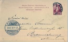 1896 , ARGENTINA ,  ENTERO POSTAL CIRCULADO , BUENOS AIRES - BRAUNSCHWEIG , LLEGADA - Cartas