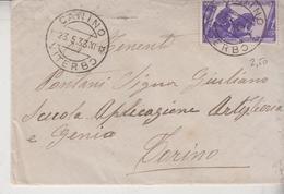Canino Viterbo 1933 Regno Per Torino Francobollo Commemorativo X° Annuale - 1900-44 Vittorio Emanuele III