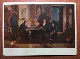 Vintage Russian USSR  Postcard GOZNAK 1929 Artist Vasnetsov. Tsarist Russia Gambling In Cards Preference. Jeu De Cartes. - Schilderijen