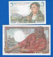 France  2  Billets - 1871-1952 Antichi Franchi Circolanti Nel XX Secolo