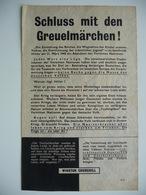 WWII WW2 Tract Flugblatt Propaganda Leaflet In German, PWE G Series/1943, Сode G.22, Schluss Mit Den Greuelmärchen! - Alte Papiere