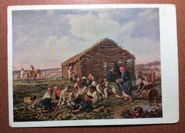 Vintage Russian USSR Postcard GOZNAK 1929 By MOROZOV. Tsarist Russia Types Of Peasants Haymaking. Repas Des Faucheurs. - Schilderijen