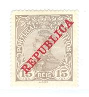 PORTOGALLO, PORTUGAL, COMMEMORATIVO, RE MANUEL II, 1910, FRANCOBOLLI NUOVI (MLH*), 15 R. YT 171   Scott 173 - 1910 : D.Manuel II