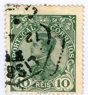 PORTOGALLO, PORTUGAL, COMMEMORATIVO, RE MANUEL II, 1910, FRANCOBOLLI USATI, 10 R. YT 156   Scott 158 - 1910 : D.Manuel II
