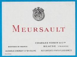 Rare Etiquette De VIN De Bourgogne - MEURSAULT - CHARLES VOISIN & Cie à 21 Beaune ** Wine - Bourgogne