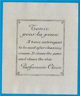"""Mini Etiquette """"Tonic Pour La Peau"""" ... PARFUMERIE CLAIRE *** Parfum Beauté - Parfums & Beauté"""