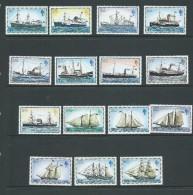 Falkland Islands 1978 Mail Ship Definitive Set 15 MNH Most With Lightly Toned Perfs - Falkland Islands