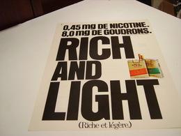 ANCIENNE PUBLICITE CIGARETTE RICH AND LIGHT 1978 - Tabac (objets Liés)