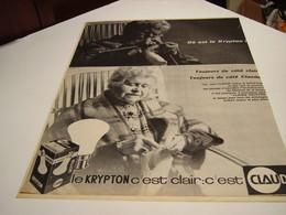 ANCIENNE PUBLICITE LE KRIPTON C EST CLAIR  LAMPE   CLAUDE 1964 - Publicité