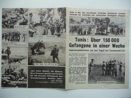 WWII WW2 Tract Flugblatt Propaganda Leaflet In German, PWE G Series/1943, Сode G.32, Tunis: Über 150 000 Gefangene In... - Old Paper