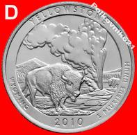 "USA, Quarter, 25 Cents 2010, ""YELLOWSTONE"" - D - Émissions Fédérales"