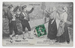 TYPES CATALANS - N° 3227 - DEPART DES CONSCRITS - PETITS PLIS ANGLE ET PETITE DECHIRURE A GAUCHE - CPA VOYAGEE - France