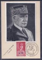 Carte Maximum Sur Soie Journee Du Timbre 1942 Saint Etienne Petain - 1940-49