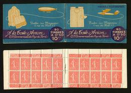FRANCE - CARNET 199-C3 - 20 TIMBRES **  SEMEUSE LIGNEE 50c ROUGE - Definitives