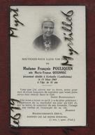 Faire-part De Décès - (1945) Memento Madame Joseph Pouliquen Née Marie-Yvonne Queinnec - Kerhuella - Landivisiau - Obituary Notices