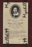 Faire-part De Décès - (1942) Memento Madame Hervé Kerdilès Née Françoise-Marie Baot - - Obituary Notices