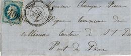 1870- Lettre De VANVEY ( Puy De Dome ) Cad  T24  Affr. N° 29  Oblit. G C 4098 - 1849-1876: Période Classique
