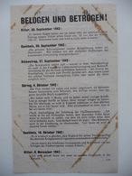 WWII WW2 Tract Flugblatt Propaganda Leaflet In German, PWE G Series/1943, Code G.58, BELOGEN UND BETROGEN! - Non Classificati