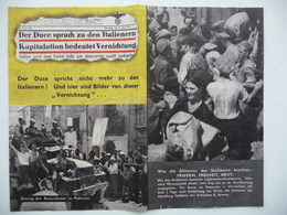 WWII WW2 Tract Flugblatt Propaganda Leaflet In German, PWE G Series/1943, Code G.60, Der Duce Spricht Nicht Mehr Zu Den - Alte Papiere