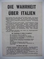 WWII WW2 Tract Flugblatt Propaganda Leaflet In German, PWE G Series/1943, Code G.68, Die Wahrheit über Italien - Non Classificati