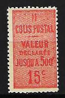 """FR Colis Postaux YT 30 """" Valeur Déclarée 15c.vermillon """" 1918-23 Neuf** - Paketmarken"""