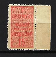 """FR Colis Postaux YT 30 """" Valeur Déclarée 15c.vermillon """" 1918-23 Neuf** BDF - Paketmarken"""