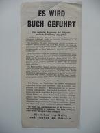 WWII WW2 Tract Flugblatt Propaganda Leaflet In German, PWE G Series/1943, Code G.70, ES WIRD BUCH GEFÜHRT - Alte Papiere