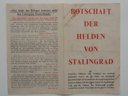 WWII WW2 Tract Flugblatt Propaganda Leaflet In German, PWE G Series/1943, G.82, BOTSCHAFT DER HELDEN VON STALINGRAD - Vieux Papiers