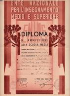 Ente Nazionale Per L'Insegnamento Medio E Superiore, Diploma Di Ammissione Alla Scuola Media. Corato 1930 - Diplomi E Pagelle