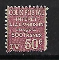 """FR Colis Postaux YT 72 """" Intérêts 50c.rouge """" 1926 Neuf** - Paketmarken"""