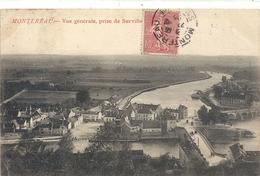 MONTEREAU . VUE GENERALE PRISE DE SURVILLE . AFFR LE 22-12-1905 SUR RECTO - Montereau