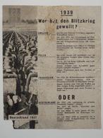 WWII WW2 Tract Flugblatt Propaganda Leaflet In German, PWE G Series/1943, G.87, 1939 Wer Hat Den Blitzkrieg Gewollt? - Non Classificati