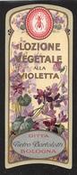 """07664 """"LOZIONE VEGETALE ALLA VIOLETTA - DITTA P. BORTOLOTTI - BOLOGNA - 1920 CIRCA"""" ETICHETTA  ORIGINALE - Etichette"""