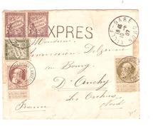 TP 75-77 S/L.Exprès-Express C. Borgerhout (Anvers) 10/5/1907 V.France Ambt BXL-Tournai1 Taxé 1,20 Fr - Strafportzegels