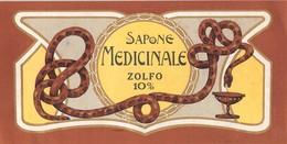 """07668 """"SAPONE MEDICINALE ZOLFO 10% - 1920 CIRCA"""" ETICHETTA  ORIGINALE - Etichette"""