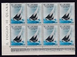 1955 San Marino Saint Marin VELA I° 8 Serie 100L Azzurro-nero In Blocco MNH** - Vela