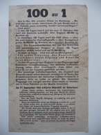 WWII WW2 Tract Flugblatt Propaganda Leaflet In German, PWE G Series/1943, G.90, 100 Zu 1 / Achtung Lebensefahr! - Non Classificati
