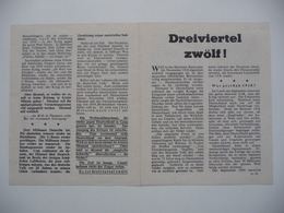 WWII WW2 Tract Flugblatt Propaganda Leaflet In German, PWE G Series/1943, G.92, Dreiviertel Zwölf! (A Quarter To Twelve) - Non Classificati