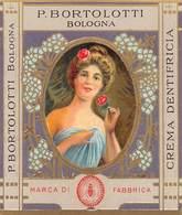 """07673 """"CREMA DENTIFRICIA - DITTA P. BORTOLOTTI - BOLOGNA - 1910 CIRCA - LIBERTY"""" ETICHETTA  ORIGINALE - Etichette"""